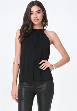 bebe Faux Leather Neck Top