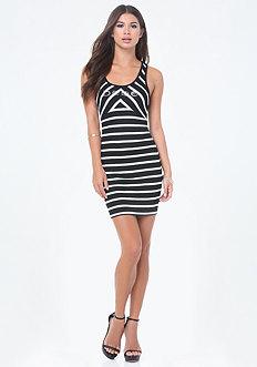 Logo Striped V-Strap Dress