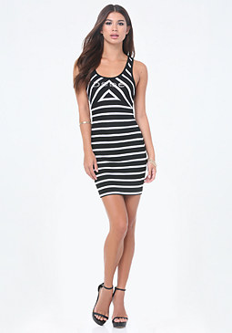 bebe Logo Striped V-Strap Dress