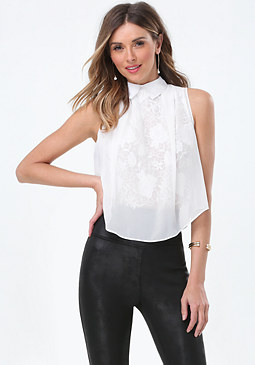bebe Georgette Overlay Lace Top