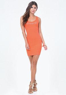 Logo Solid V-Strap Dress