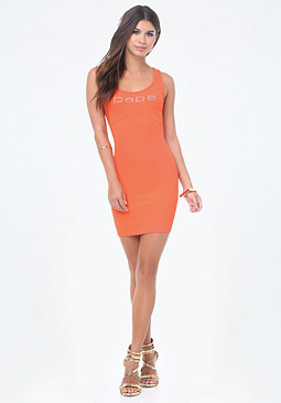bebe Logo Solid V-Strap Dress
