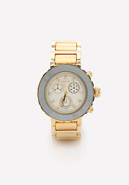 bebe Mirrored Bezel Link Watch