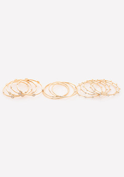 bebe Crystal Goldtone Bangle Set