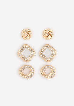 bebe Posh 3-Pair Earring Set