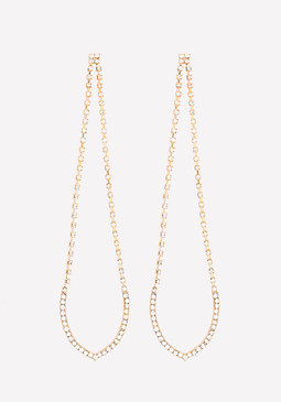 bebe Crystal Long Loop Earrings