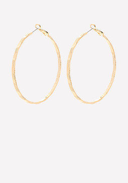 bebe Textured Thin Hoop Earrings