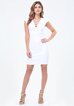 bebe Lace Up Power Dress