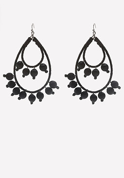 bebe Beaded Double Hoop Earrings
