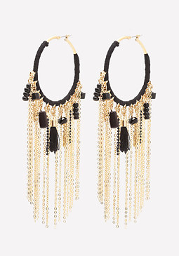 bebe Fringe Yarn Hoop Earrings