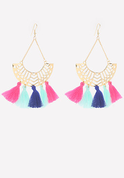 bebe Tassel Laser Cut Earrings