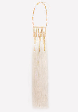bebe Metal Bar & Fringe Necklace