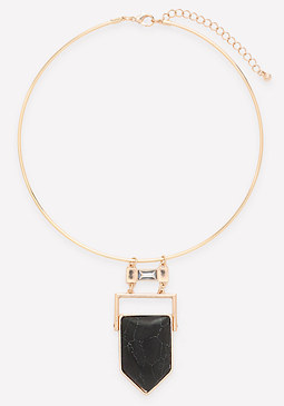 bebe Black Geo Stone Necklace