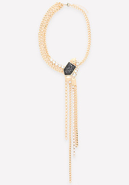 bebe Asymmetric Fringe Necklace