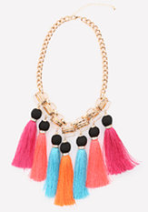 bebe Colorful Tassel Necklace