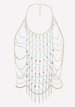 bebe Bead & Crystal Body Chain