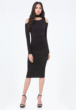 bebe Cold Shoulder Midi Dress