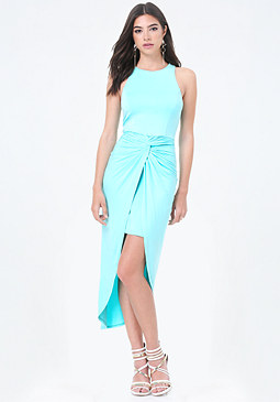 bebe Front Knot Hi-Lo Dress
