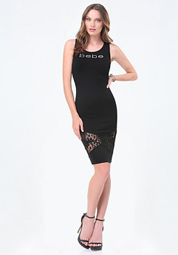 bebe Logo Crisscross Lace Dress