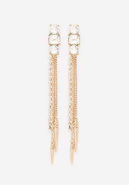 bebe Chain & Spike Long Earrings