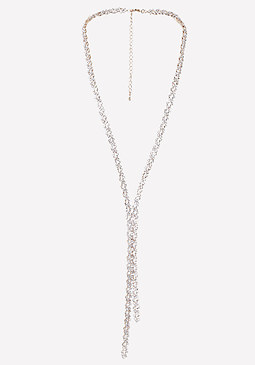 bebe Geo Crystal Lariat Necklace