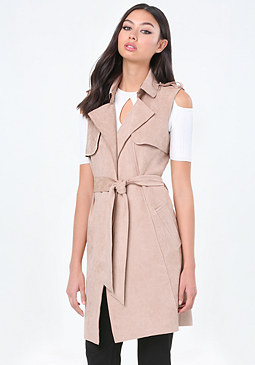 bebe Faux Suede Trench Coat