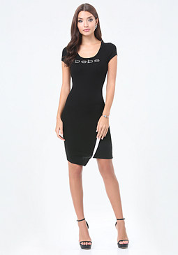 bebe Logo Asymmetric Hem Dress