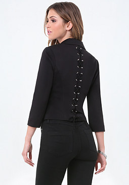bebe Ponte Back Lace Up Blazer