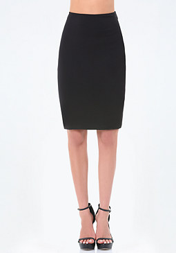 bebe Ponte Back Lace Up Skirt