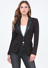 bebe Faux Leather Collar Blazer