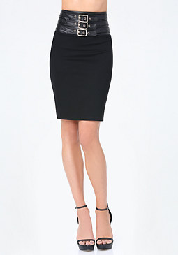 bebe Triple Buckle Waist Skirt