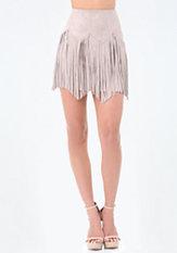 bebe Faux Suede Fringe Miniskirt