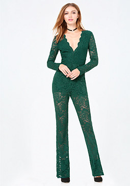bebe Scallop Lace Jumpsuit