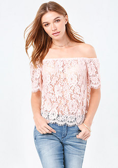 Sheer Lace Off Shoulder Top