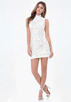 bebe Embellished Mock Neck Dress
