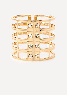 Crystal & Metal Cage Cuff