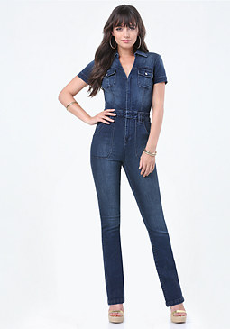 bebe Kendall Denim Jumpsuit