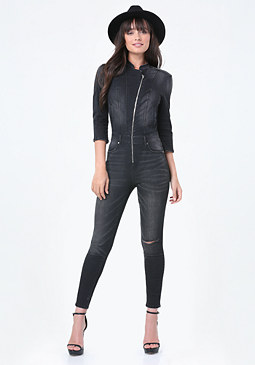 bebe Denim Moto Jumpsuit