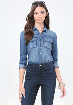 bebe Denim Utility Shirt