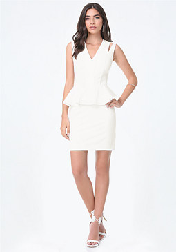 bebe Cutout Peplum Dress