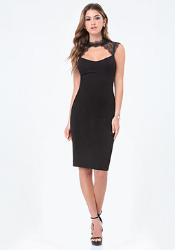 bebe Lace Collar Midi Dress