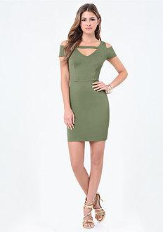 Ponte Cold Shoulder Dress