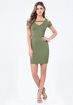 bebe Ponte Cold Shoulder Dress