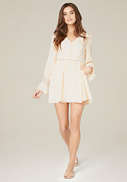bebe Flare Cuff Button Dress