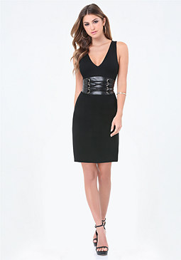bebe Ponte Corset Waist Dress