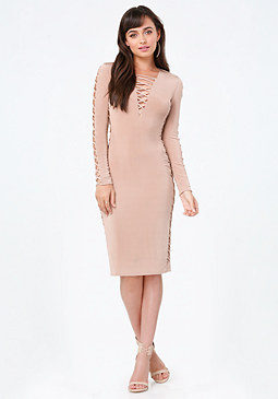 bebe Slinky Lace Up Midi Dress