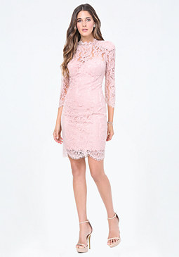 bebe Stacy Scallop Lace Dress