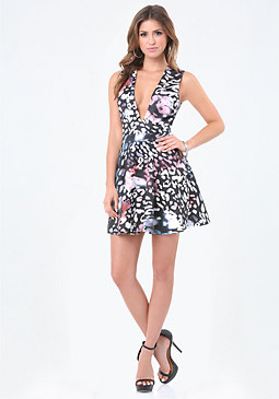 bebe Print Lace Back Flare Dress