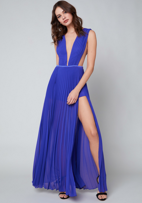 Solid Double Slit Gown at bebe in Sherman Oaks, CA | Tuggl