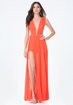 bebe Solid Double Slit Gown